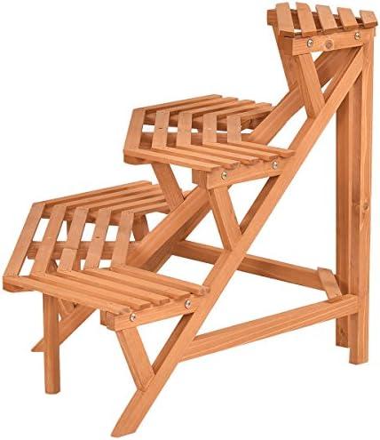 木製コーナーフラワースタンド植物ラダーポットホルダーディスプレイラックシェルフ3Tier