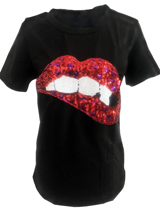848397d2e2 Amazon.com: Women's Sequined Sparkely Glittery Lip Print T Shirt Cute  Embroidery Teen Girls Tops: Clothing