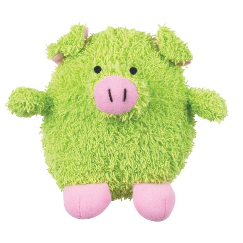 Grriggles Plush Pudgy Dog Toy, Pig, 4-1/2-Inch, Green, My Pet Supplies