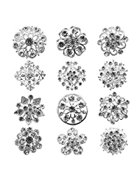 Zakia Wholesale Lot 12pcs Crystal Flower Bridal Brooch Pin Brooches Gold Silver