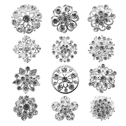 12px Small Size Silver Wedding Bridal Crystal Brooches Rhinestone Brooch Flower Corsage Bouquet Decor Bridal Wedding Brooch