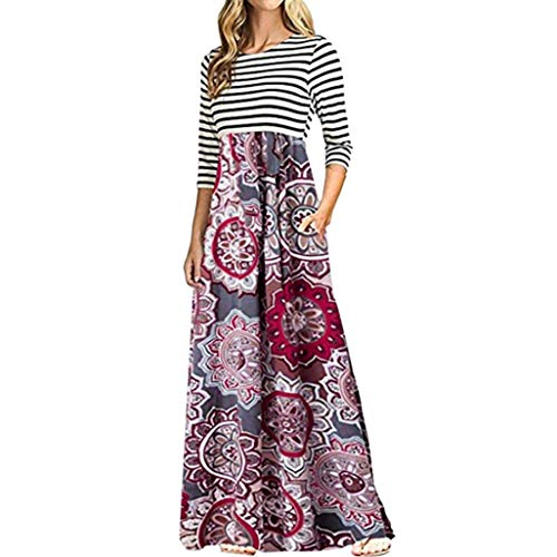 HongXander Women's Dress, Women Long Sleeve Striped Print Patchwork Bohemian Long Maxi Dress with Pocket by HongXander