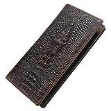 Itslife Men's Cowhide Leather Wallet Alligator Tiger Dragon Embossing (Gator-Long)
