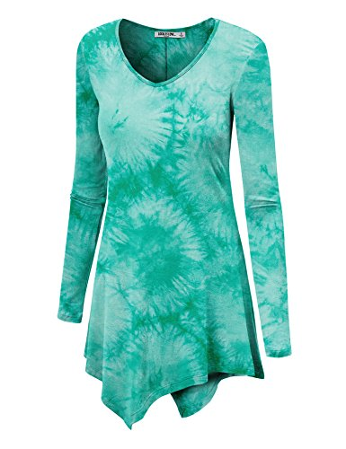 WT1062 Womens V Neck Long Sleeve Tie Dye Handkerchief Hem Tunic XXXL JADE