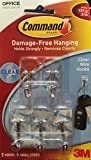 Command Small Clear Wire Hooks with Clear Strips, 5 Hooks, 6 Strips