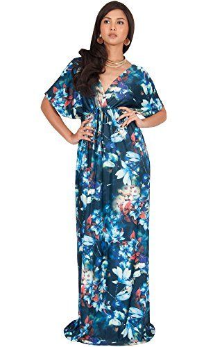 KOH KOH Womens Long Floral Print Kimono Short Sleeve V-Neck Summer Maxi Dress