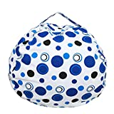 Ehonestbuy Kids' Bean Bag Chair Stuffed Animal Storage, Stripe Cotton Canvas Toy Organizer for Kids Bedroom, Storage Solution for Plush Toys, Towels & Clothes (Big – 26 Inch Diameter, Blue Circle)