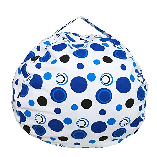 Professional Circles Dark Solution (Ehonestbuy Kids' Bean Bag Chair Stuffed Animal Storage, Stripe Cotton Canvas Toy Organizer for Kids Bedroom, Storage Solution for Plush Toys, Towels & Clothes (Big - 26 Inch Diameter, Blue Circle))