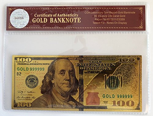 VIRGINIA CITY MINT $100 Dollar Bill...Banknote.. 24K Gold 3D Overlay... With (100 Gold Certificate)