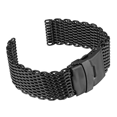 Beauty7 Black 24mm Stainless Steel Shark Mesh Wrist Watch Band Strap Replacement Double Button Fold Clasp