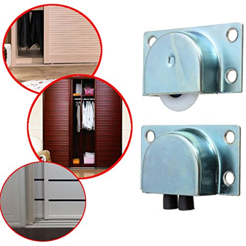 (CocinaCo 4pcs White Metal Wardrobe Sliding Doors Plastic Bearing Wheel)