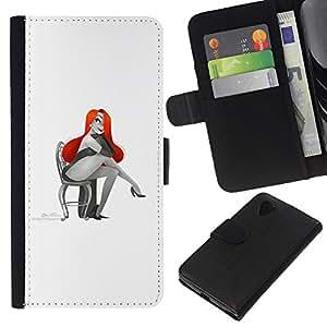 KingStore / Leather Etui en cuir / LG Nexus 5 D820 D821 / Mujer atractiva roja atractiva del pelo del dibujo del arte