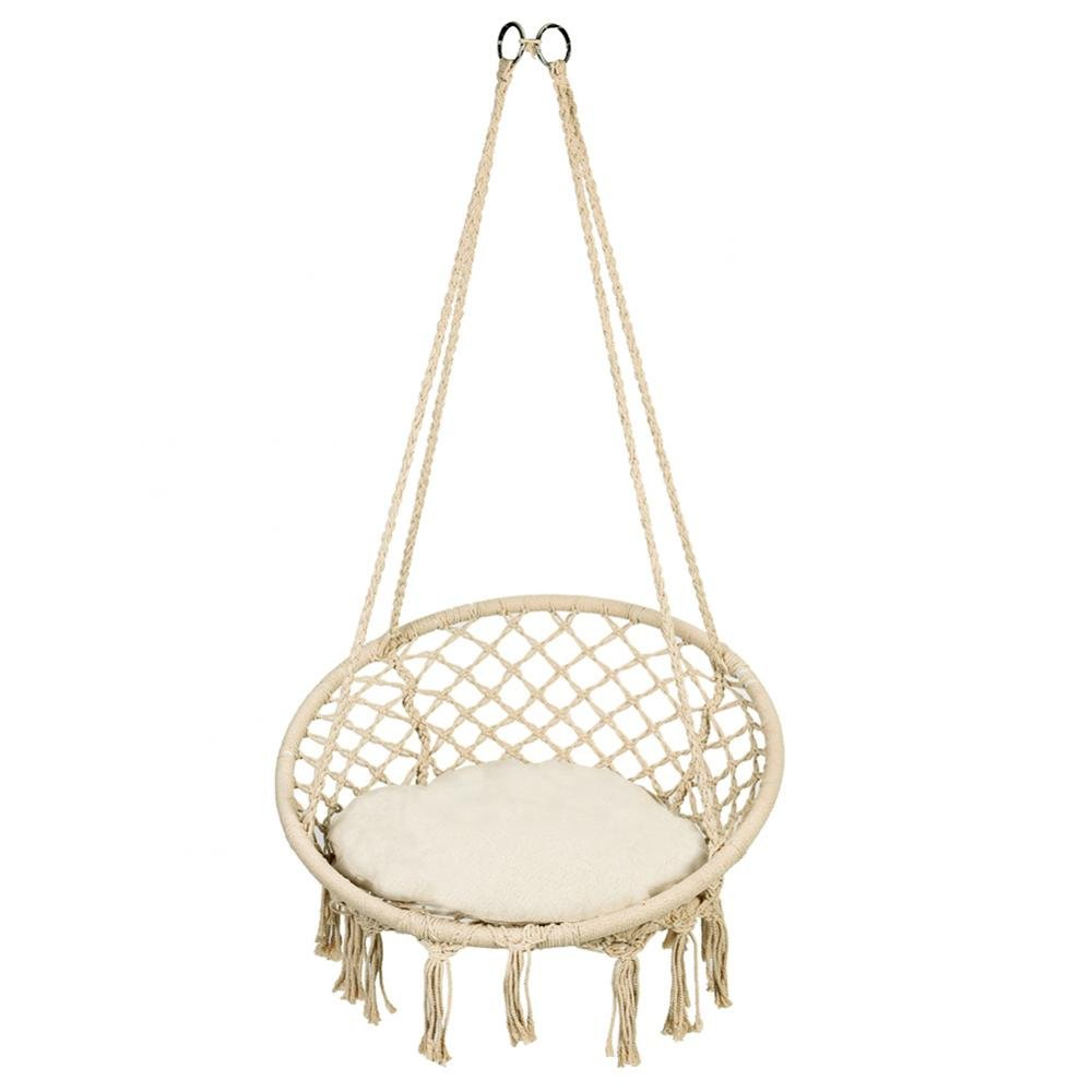 Walfront Hammock Chair Macrame Swing,300 Pound Capacity, Perfect for Indoor/Outdoor Home, Patio, Deck, Yard, Garden(Beige) Wal front