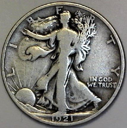 1921 D Silver Walking Liberty (KEY Date) Half Dollar Seller Fine