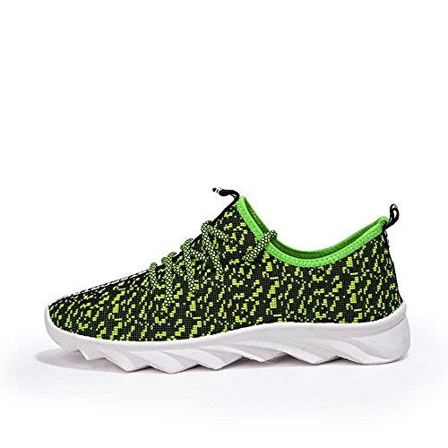 Verano Zapatillas Casual Otoño Tela Sneaker Heel de 2018 Moda Vamp para Verde Up Hombres Flat de los Correr Malla Lace awqdSw