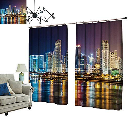 PRUNUS Room Darkening Curtain with Hooked Downtown Miami Night City Thermal Insulated Blackout Window Curtain,W84.3 xL96.5