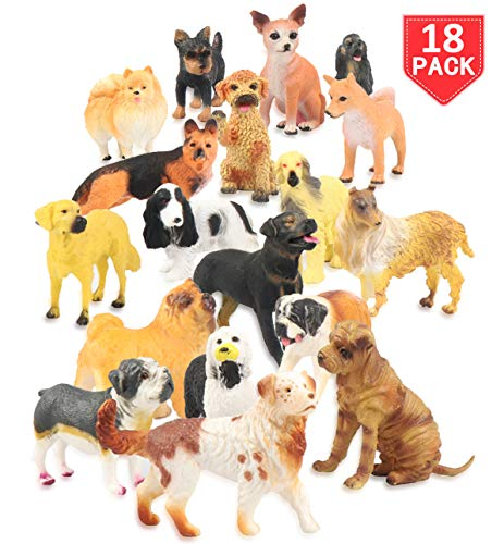 Dog Playset - Liberty Imports Set of 18 Large Deluxe Dog Figurines, Toy Puppy Figures Canine Bulk Animal Variety Gift Pack (4-Inches)