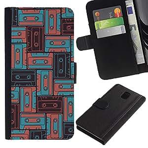 KingStore / Leather Etui en cuir / Samsung Galaxy Note 3 III / 90 Música Antigua del trullo del vintage Boom Sound