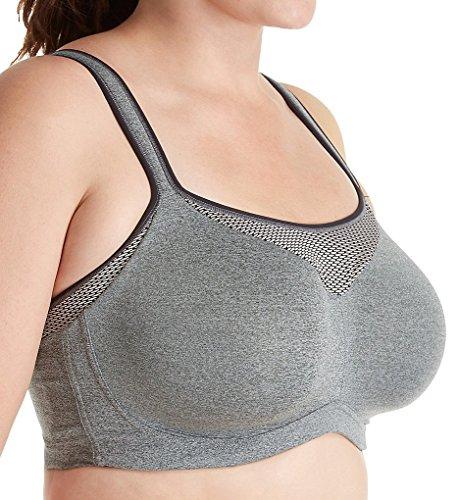Curvy Couture Women's Plus-Size Ultimate Fit Underwire Sport Bra, Heather Gray, 40 DD
