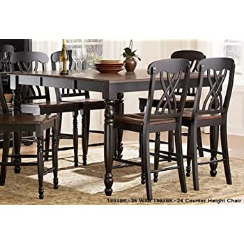 Homelegance Ohana 5 Piece Counter Height Dining Room Set In Black/ Cherry