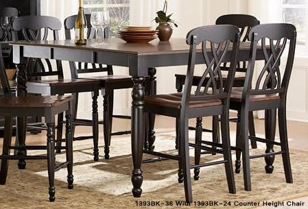 Homelegance Ohana 7 Piece Counter Height Dining Room Set in Black/ Cherry
