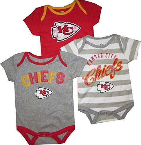 "UPC 710590162148, Kansas City Chiefs KC 3pc Creeper ""Field Goal"" Bodysuit Infant Baby (3-6 Months)"