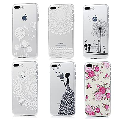 iPhone 8 Plus Case, iPhone 7 Plus Case - 6 Pcs Shock-Absorption TPU Rubber Skin Bumper Case Transparent Crystal Clear Cute Colorful Print Patterns Ultra Slim Protective Cover Badalink by Badalink