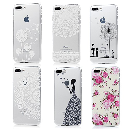 iPhone 8 Plus Case, iPhone 7 Plus Case - 6 Pcs Shock-Absorption TPU Rubber Skin Bumper Case Transparent Crystal Clear Cute Colorful Print Patterns Ultra Slim Protective Cover by Badalink - Group 2