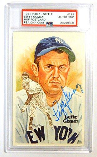 1981 Perez-Steele Lefty Gomez Signed Postcard #129 Auto Slabbed - PSA/DNA Certified - Baseball Cards ()