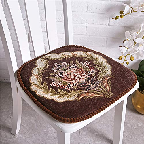 Happiness Decoration Comfortable & Soft Chenille Dining Chair Pad with Ties Thick Nonslip Seat Cushion for Dining Patio Chair (Brown) (Chair Pads Embroidered)