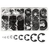 Baban E-Clip Retaining Circlip Assortment Kit Manganese Steel Black Snap Ring For Fasteners Pack Of 300 Pcs