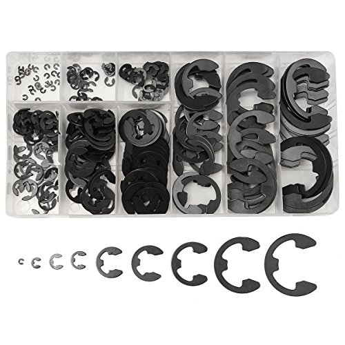 [해외]Baban E- 클립 유지 Circlip 다기 세트 망간 강철 검정 스냅 링 300 PC의 패스너 팩/Baban E-Clip Retaining Circlip Assortment Kit Manganese Steel Black Snap Ring For Fasteners Pack Of 300 Pcs