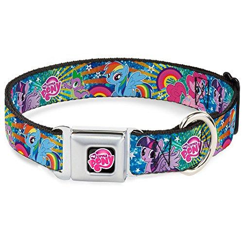 Sunburst Star - Buckle Down Seatbelt Buckle Dog Collar - Three Ponies & Spike Sunburst & Stars Blues/Multi Color - 1.5