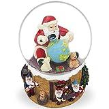"6"" Santa Exploring World with Gnomes by Christmas Tree Musical Box Snow Globe"