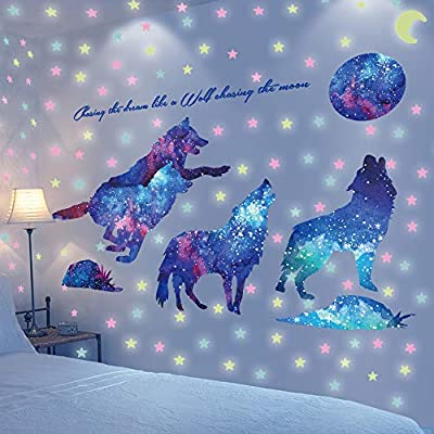 Glow in The Dark Wall or Ceiling Wolf Stickers – Luminous Decal Stickers for Simulated Star Effect at Night – Ideal Kids Decor or Adults – Perfect Gift Kids Boys Girls (Large, Purple): Baby