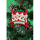 Personalized Christmas Tree Decoration Ornaments Bed Heads Family - For the family of 4 members- Get your desired names on the items- A perfect Christmas gift by Frame Company