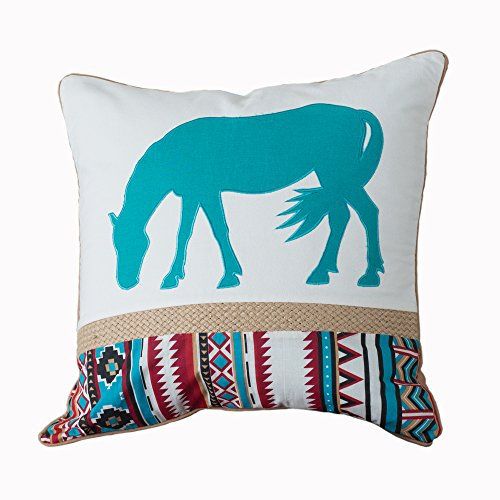 Turquoise Horse Pillow with Rope Trim