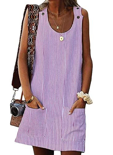 (FARYSAYS Women's Fashion 2019 Round Neck Sleeveless Button School Office T-Shirt Shift Party Mini Dress Pink X-Large)