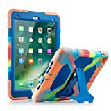 ACEGUARDER New iPad 9.7 2017 Case for Kids Tough Silicone [Impact Resistant][Shockproof][Heavy Duty] Full Body Rugged Protective Cover with Kickstand for Apple New iPad 9.7 inch 2017 (Ice/Blue)