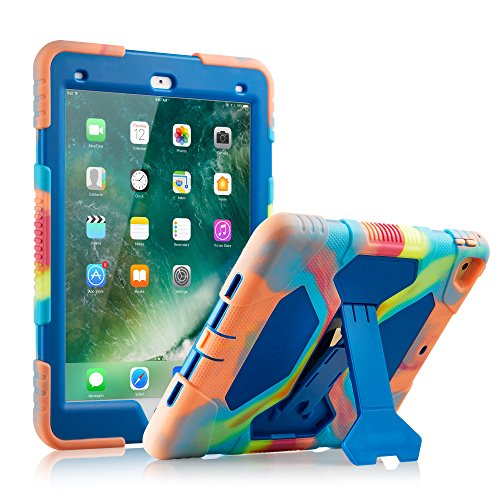 New iPad 9.7 2018/2017 Case, KIDSPR Lightweight Shockproof Rugged Cover with Stand Protective Full Body Rugged for Kids for New Apple iPad 9.7 inch 2018/2017 (6th Gen, 5th Gen) (Ice/Blue)