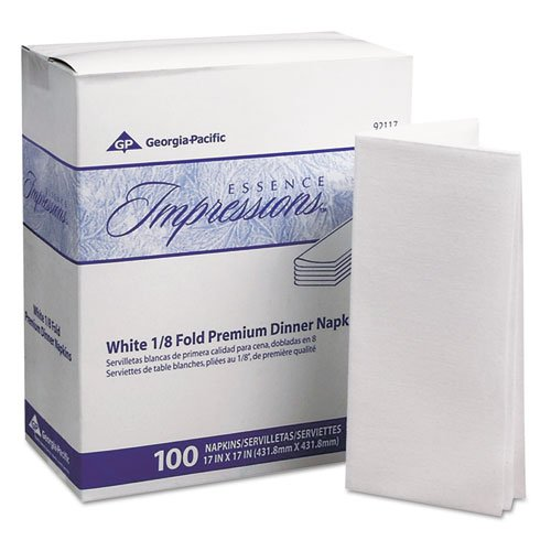 Essence Impressions 17x17 1/8-Fold Linen Replacement Dinner Napkins White - 400 per case. - Impressions Linen Replacement Dinner Napkins