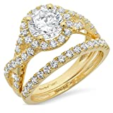 2.6 Ct Round Cut Pave Halo Engagement Promise Wedding Bridal Anniversary Ring Band Set 14K Yellow Gold, Clara Pucci