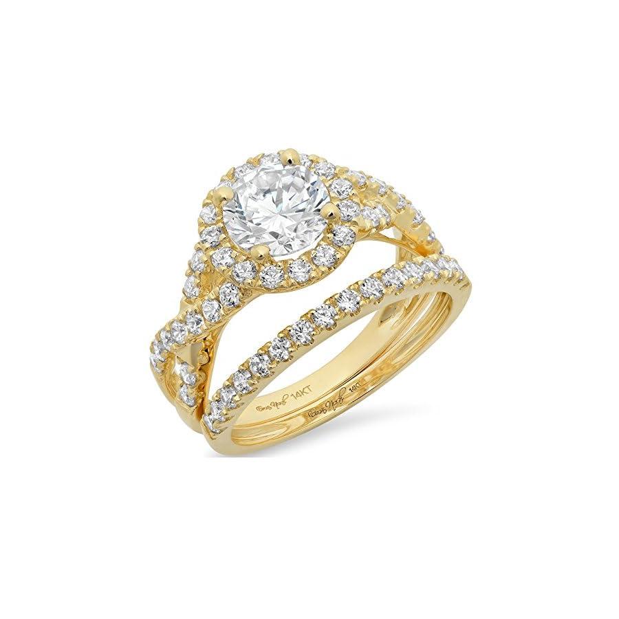 Clara Pucci 2.3 CT Round Cut Pave Halo Bridal Engagement Wedding Ring Band Set 14k Yellow Gold