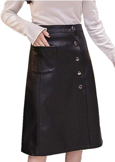 Morbuy Falda De Cuero Negra Mujer, Cintura Alta Longitud Media ...