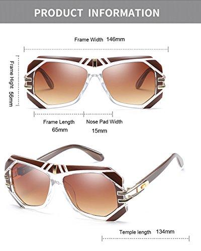 de Gafas hombre De Hombre diseñador Clásico UV400 de Marco forma para sol Cuadrado tamaño Grande Mujer en gran Aviador Retro Marrón Gafas qEXU7a