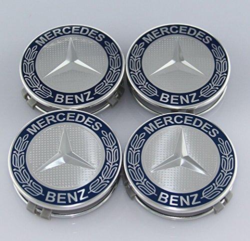 ZZHF1 Wheel Center Caps For Mercedes Benz 75mm - Wreath Cover Chrome Emblem (4Pcs) (Navy Blue) by ZZHF1