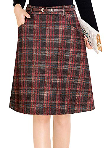 (Womens Plaid Pencil Skirt, Elastic Office Wear Knee Length Bodycon Skirt Red Tag 4XL-US)