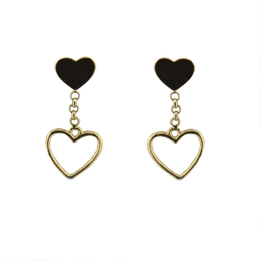 18K Yellow Gold top Polished Heart and Dangle Open Heart Post Earrings 0.60 inch L