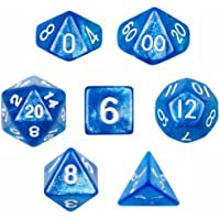 Wiz Dice 7 Die Polyhedral Blue Sparkle Horizon Dice Set with Velvet Pouch