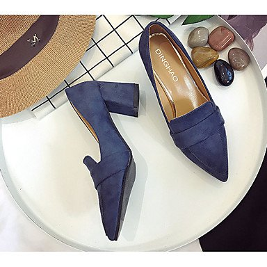 LvYuan-GGX Damen Pumps High Heels Pumps Damen Wildleder Sommer Normal Kleid Walking Pumps Blockabsatz Schwarz Grau Rot Blau 12 cm & Mehr, schwarz, us8   eu39   uk6   cn39 fbcce0